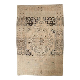 "Vintage Distressed Oushak Carpet - 5'10"" x 9' For Sale"