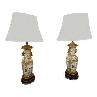 Rose Medallion Vase Lamps - a Pair For Sale