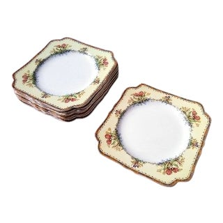 1920s Crown Ducal Ware Tulips & Flowers Square Dinner Plates - Set of 8 For Sale