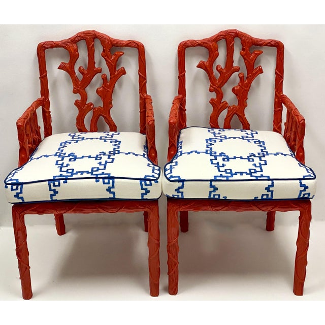 Wood Carved Italian Red Faux Bois Jim Thompson Blue & White Linen Arm Chairs - a Pair For Sale - Image 7 of 9