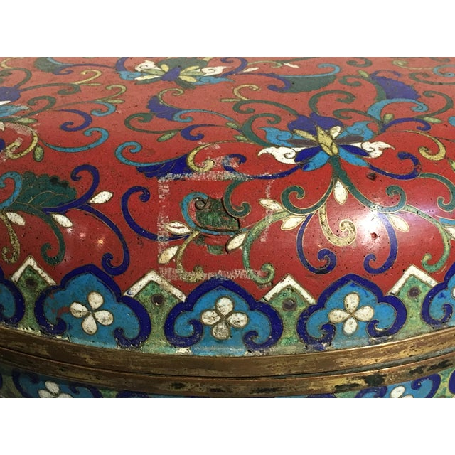 Large Chinese Qing Dynasty Red Cloisonné Round Box - Image 9 of 10