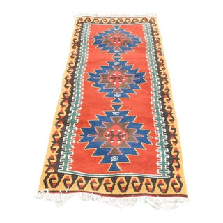 1980s Anatolian Medallion Design Handmade Kilim Runner - 2′6″ × 6′5″ For Sale