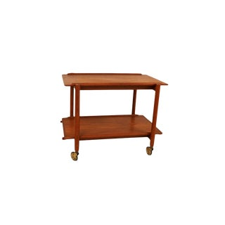 Mid Century 1960s Poul Hundevad Extendable Teak Bar Cart Denmark For Sale