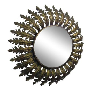 Gilt Metal French Round Eyelash Mirror Style of Curtis Jere For Sale