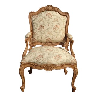 Vintage French Country Provincial Ornately Carved Brown Floral Accent Chair For Sale