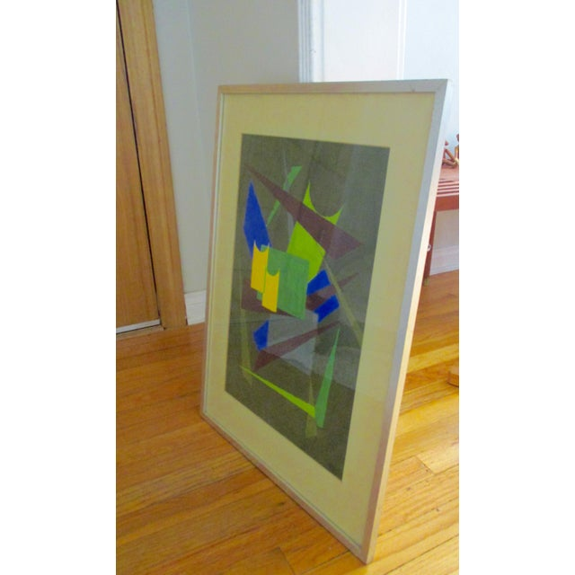 Abstract Geometric Acrylic Painting - Image 3 of 10