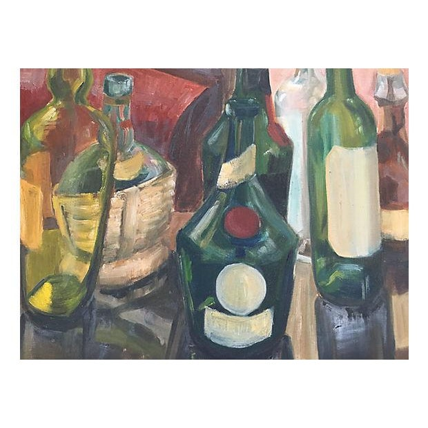 Vintage 1970s French Wine Bottles Still Life Oil Painting For Sale - Image 4 of 5