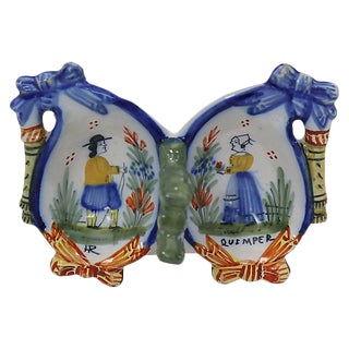 French Quimper Open Double Salt Dish For Sale