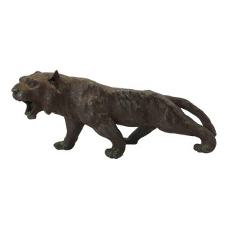Asian Panther Lion Tiger Ebony Gunmetal Sculpture, Late 19th Century For Sale