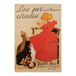 """1993 Theophile A. Steinlen """"Advertisement for Lait Pur Sterilise Produced by a Dairy in Burgundy"""", First Edition Poster For Sale"""