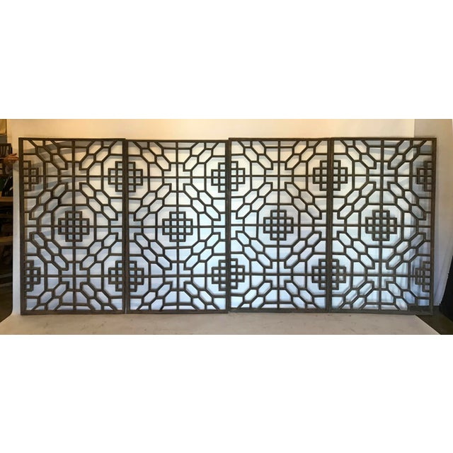 Set of Four 19th Century Japanese Lattice Wooden Panels For Sale - Image 13 of 13