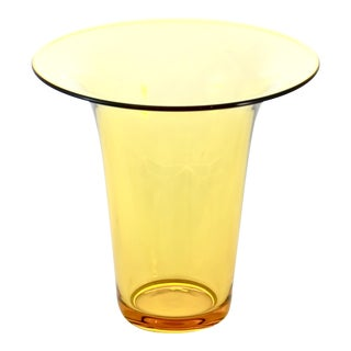 Amber Glass Trumpet Vase For Sale