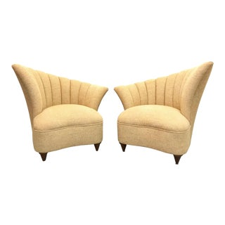 1960s Mid Century Modern Channel Back Chairs - a Pair