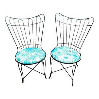 Vintage Homecrest/Salterini Black Wrought Iron Patio Chairs - a Pair For Sale