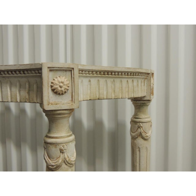 Painted White Vintage Louis XVI Style Console Table Frame For Sale In Miami - Image 6 of 9