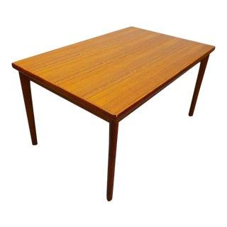 1960s Danish Modern Teak Expanding Slide Leaf Dining Table For Sale