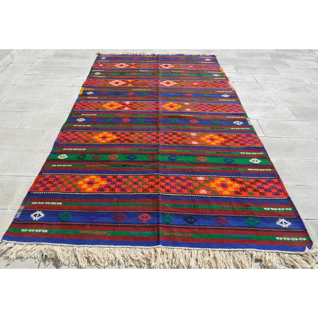 Traditional Turkish Hand-Woven Kilim Rug - 5′10″ X 10′11″ For Sale - Image 3 of 10