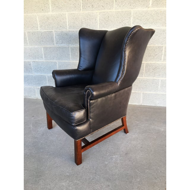 Chippendale Pottery Barn Thatcher Leather Wing Back Arm Chair For Sale - Image 3 of 12