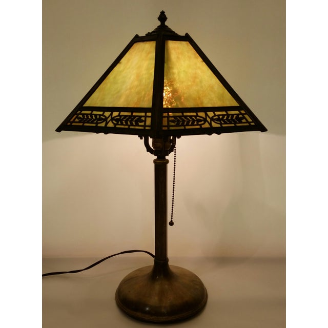 Vintage Pilabrasgo 1920's Slag Glass Table Lamp For Sale - Image 4 of 8