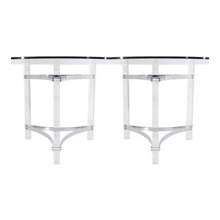 Charles Hollis Jones Chrome and Lucite Table Bases - a Pair For Sale
