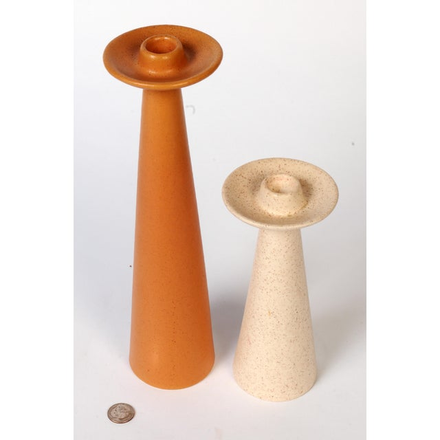 "Set of stoneware candleholders with classic Danish midcentury lines. Short candleholder is 8.5"" by x 3.75,"" tall is 13.5""..."