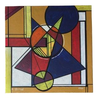 1985 Vintage Geometric Composition Gouache on Board by L Gerrad For Sale