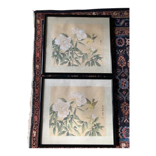 Japanese Hand Painted Peonies and Bird on Silk - a Pair For Sale