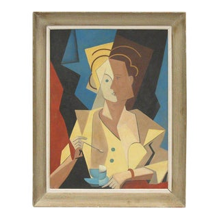 French Cubist Gouache on Cardboard Painting, Woman With Cup of Coffee For Sale