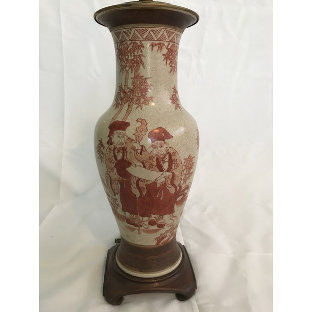 Asian Asian Chinoiserie Hand Painted Ginger Jar Lamp For Sale - Image 3 of 7