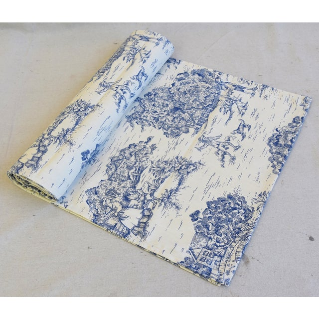 """White Blue & Cream French Farmhouse Country Toile Table Runner 106"""" Long For Sale - Image 8 of 8"""