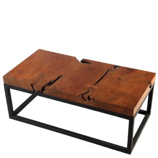 Rustic Solid Teak Top and Black Metal Base Coffee Table For Sale
