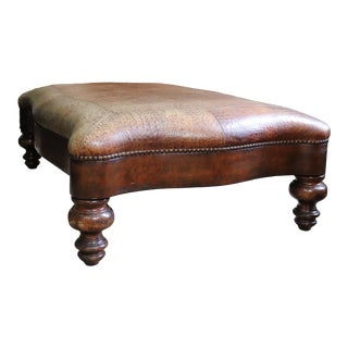 European Hand Tooled Leather Oversized Ottoman For Sale
