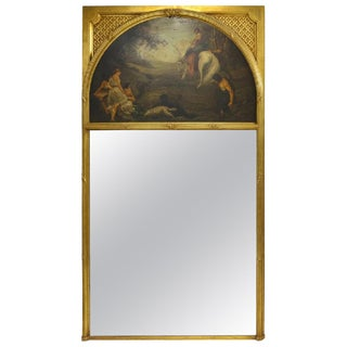 French Trumeau Mirror With Demi Lune Painting, 19th Century For Sale