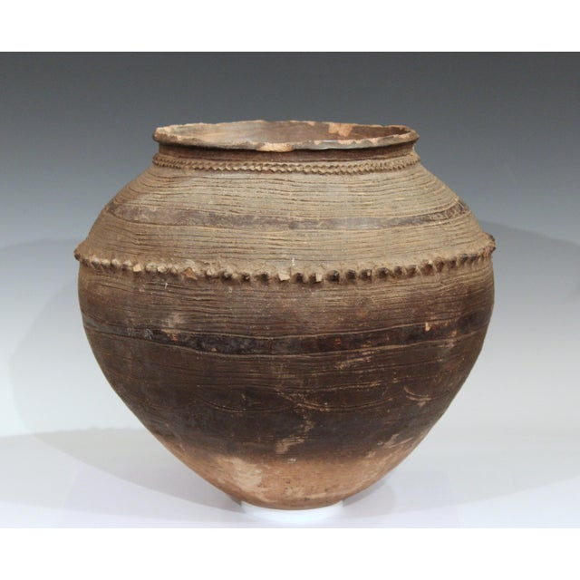 Brown Antique Nigerian African Terracotta Pottery Storage Jar Incised Geometric Vase For Sale - Image 8 of 9