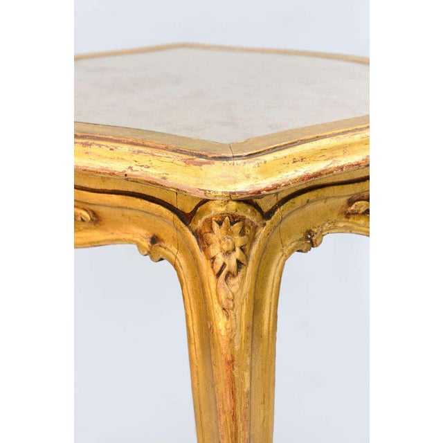 Gold Carved Giltwood Accent Table With Mirrored Top For Sale - Image 8 of 10