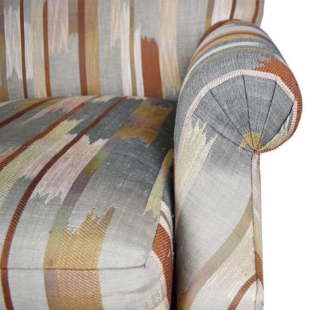 Rolling Upholstered Southwest Ikat Armchair in Brown Cream and Blue by Baker Furniture Company For Sale - Image 11 of 13