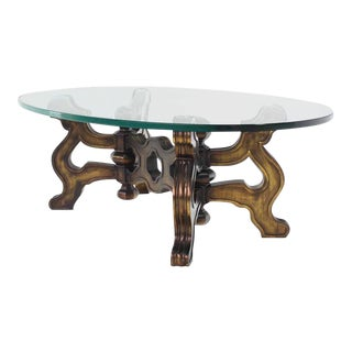 20th Century Hollywood Regency Heavy Carved Base Oval Coffee Table For Sale
