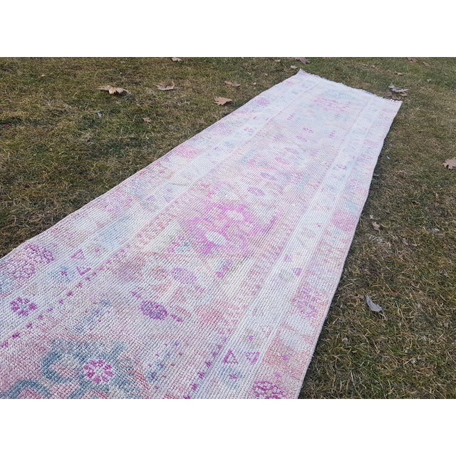 "Distressed Turkish Oushak Runner Rug - Low Pile Herki Rug 2'7"" X 13'4"" For Sale - Image 10 of 13"