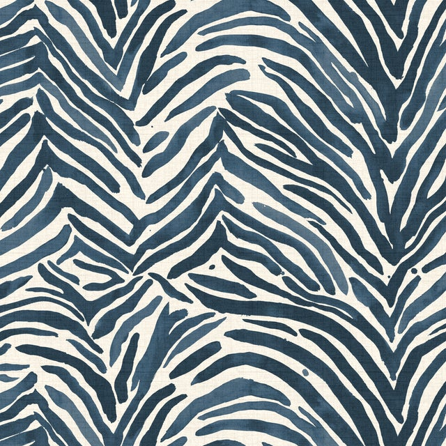 Textile Washed Zebra Blue 4 Piece Sectional For Sale - Image 7 of 9