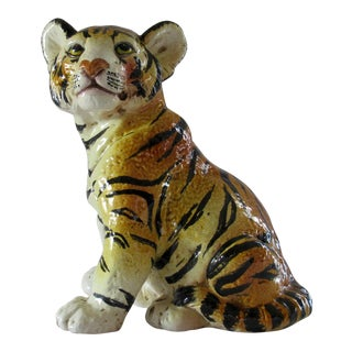 Vintage Italian Majolica Hand Painted Tiger Cub Life Size For Sale