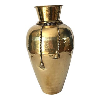 Hammered Brass Urn With Rope Detail For Sale