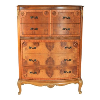 Louis XV Burlwood Bow Front Tall Dresser For Sale