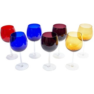 Vintage Colorful Neiman Marcus Glasses - Set of 7