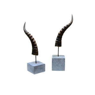 Blesbok Horn's Artist Mounted on Soapstone Bases, a Pair For Sale