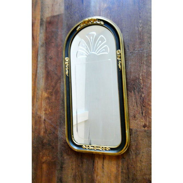 Vintage 1920's Etched Mirror With Gold Black Frame - Image 3 of 6