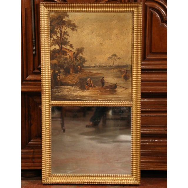 Canvas 19th Century French Hand-Painted Trumeau Mirror in Giltwood Frame For Sale - Image 7 of 7