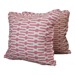 Annie Selke Throw Pillows in Links Cotton Print - a Pair For Sale