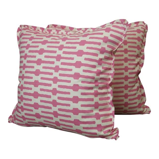 Annie Selke Throw Pillows in Links Cotton Print - a Pair For Sale