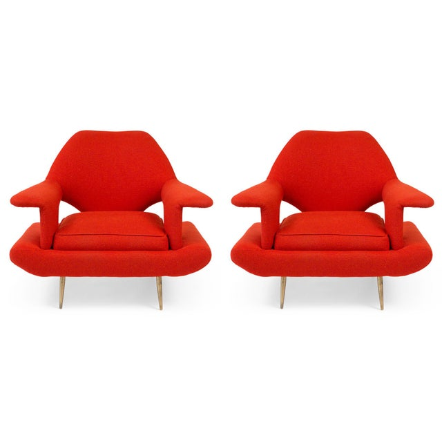 Sculptural Large Mid-Century Italian Lounge Chairs - a Pair For Sale - Image 10 of 10