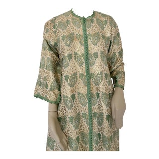 Moroccan Caftan in Lime Green and Silver and Gold Metallic Floral Brocade For Sale